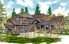 Mountain House Plan Huge Wrap-Around Porch - Diy Outdoor Fireplace, Outside Fireplace, Cozy Fireplace, Fireplace Ideas, Porch Plans, Garage Plans, Mountain House Plans, Story Mountain, Southern Living House Plans