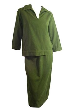 Flecked Mossy Green Wool 2 Piece Dress Set circa 1950s - Dorothea's Closet Vintage