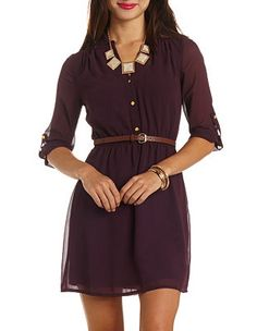 Button-Up Chiffon Belted Shirt Dress: Charlotte Russe