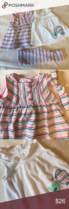 Baby Girl Gymboree Outfit Bundle Included in this bundle are two sleeveless tunic style tops, coordinating leggings and headband. Great condition! Only worn once or twice. Size 3-6 months Gymboree Matching Sets