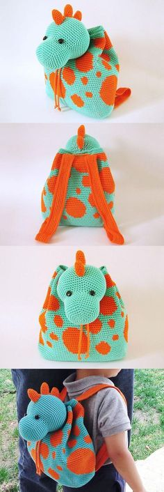 072616_Dino Backpack_http://www.allcrochetpatterns.net/shop/Chabepatterns/Dino-Backpack/ More