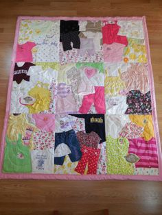 1st Year Quilt #memoryquilt #babyclothes #babyclothesblanket