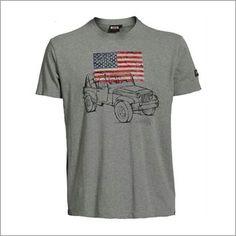 Man t-shirt car/US flag