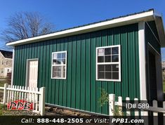 "A simple drive-through garage with 12' W by 8' H doors. 16' W x 24' L x 10' 4"" H (ID# 589) Siding Color: Ivy (Green) Roofing Color: Slate Trim Color: White (1) 3068 6-Panel Fiberglass Insulated Entry Door (4) 3' x 4' Single-Hung Insulated Windows with Grids & Screens #ivy #garage #drivethru #pioneer #polebuildings Entry Doors, Garage Doors, Pole Buildings, Siding Colors, Garage Design, Trim Color, 4 H, Garages, Screens"
