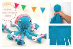 This DIY No-Sew Fleece Octopus is so cute! And it is easy to make, you don't need to have any sewing skills, even some kids can make it themselves.