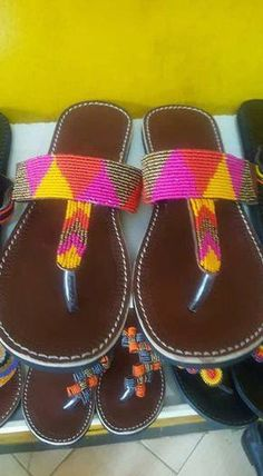 eb8028d95c9c These are Handmade sandals Leather Flip Flops  Summer Sandals Holiday wear   Maasai · Beaded ShoesBeaded SandalsFlat ...