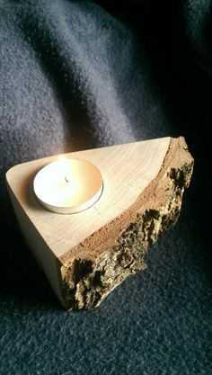 Silver birch tea light holder