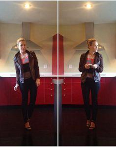 Maroon Jacket: TJ Maxx Horse Sweater: Anthropologie Black Denim: H&M Heels: Nine West