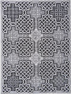 Durrow Celtic Knots Blackwork. Based on a carpet page from the Book of Durrow, also available as a cross stitch pattern.