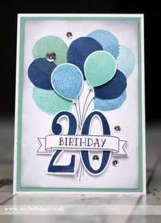 Birthday card made using Balloon Celebration & Number of Years from Stampin' Up! - Balloons teens - Birthday card made using Balloon Celebration & Number of Years from Stampin& Up! – with Mich - Birthday Cards For Boys, Bday Cards, Birthday Numbers, Handmade Birthday Cards, Happy Birthday Cards, Birthday Images, Up Balloons, Birthday Balloons, Ballon Party
