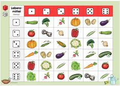 """Dice duet """"My body"""" and """"vegetables"""" for DaZ German Language Learning, Physical Development, Holiday Cocktails, Food Art, Back To School, Improve Yourself, Preschool, Nutrition, Teaching"""