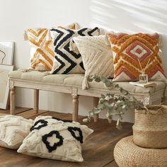 Geometric Embroidered Accent Pillow Case