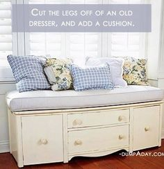 Turn a dresser in window seating