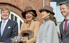 All smiles: The two royal couples appeared to be in good spirits as they arrived on Samsø ...