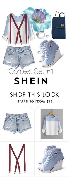 """SHEIN Contest Set #1 Two Tone Rolled Sleeve Blouse"" by gigi-sessions on Polyvore featuring Levi's, Topman and Tommy Hilfiger"
