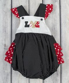 Another great find on #zulily! Black Polka Dot Baseball Love Bubble Romper - Infant & Toddler #zulilyfinds