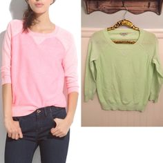 """Madewell S Neon Sweatshirt Sweater Linen Blend EUC  Madewell   """"Sweatshirt Sweater"""". Semi sheer arms. Lightweight.   Size Small   Linen, cotton & nylon       Excellent used condition!    Neon yellow-green   Bust:  17.5"""" across the front, lying flat.    Length:  23"""" from shoulder to hem.  ✳️ Bundle to Save 20%!  ❌ No Trades, Holds, PP   100% Authentic!    Suggested User // 700+ Sales // Fast Shipper // Best in Gifts Party Host!  Madewell Sweaters"""