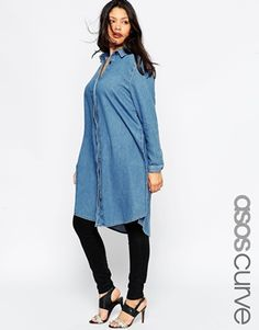 ASOS CURVE - Super Long denim shirt with slits
