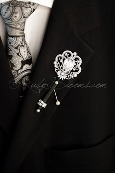 Crystal Wedding Brooch Boutonniere Pin. Groom by Rubybloomscom