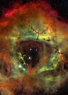 The Rosette Nebula (also known as Caldwell 49) is a large, circular H II region located near one end of a giant molecular cloud in the Monoceros region of the Milky Way Galaxy. The open cluster NGC 2244 (Caldwell 50) is closely associated with the nebulosity, the stars of the cluster having been formed from the nebula's matter.