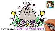 Happy Spring and Happy Easter! Learn How to Draw cute cartoon Pusheen cat and Spring flowers easy, step by step drawing lesson tutorial. How To Draw Pusheen, Pusheen Cute, Beautiful Drawings, Cute Drawings, My Little Pony Unicorn, Marker Paper, Student Drawing, Cat Flowers, Sketch Pad
