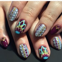 astrowifey colorful, hippy nails