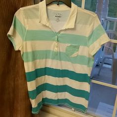 *PRICE CUT* OLD NAVY SHIRT Size large old navy t shirt. Lightweight, sheer fabric. 100% cotton. Teal blue colors transition from light to dark with stripes. Old Navy Tops Tees - Short Sleeve