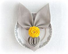 Yellow rose napkin rings Spring Easter table decorations