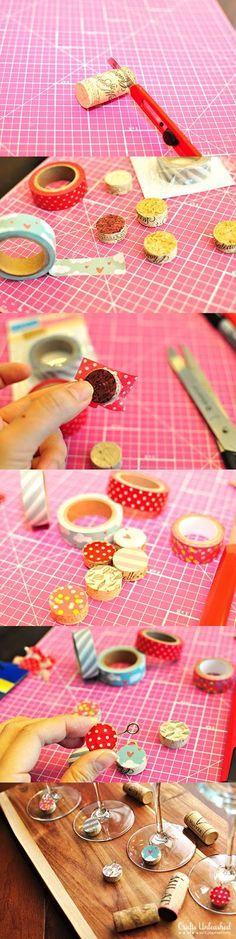 *Decoração e Invenção*: Marcador de taça com rolha e washi tape