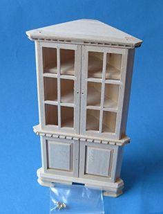 Puppenhaus Eckschrank Vitrine Holz Möbel versch. Farben Miniaturen 1:12 (natur unbehandelt) | Your #1 Source for Toys and Games