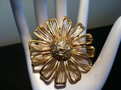 Vintage M. Jent Gold tone Flower Brooch by Sfuso on Etsy, $12.00