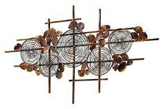 Kreativ und inspirierend! Braun lackiertes Metall, goldfarben gewischt und antikisiert. H/B/T ca. 51/91/1 cm....