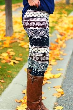 Winter Cream Leggings With Long Leather Boots....loving these funky style leggings so much.