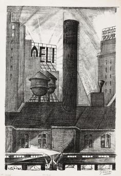 EMIL GANSO  Electric Sign (6th Avenue).   Lithograph, 1927.