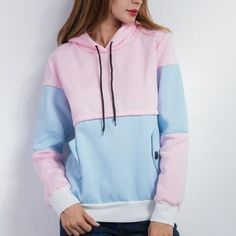 Womens color block hoodie pullover design fleece sweatshirts