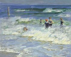 EDWARD HENRY POTTHAST (1857-1927) PLAYING IN THE SURF