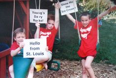 Three fans of Young's Dairy in their t-shirts in City of St. Louis, Missouri