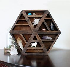 Handmade hexagon wood wall shelf for crystals.