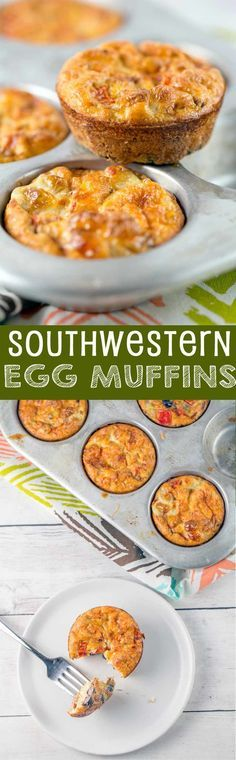 Southwestern Egg Muffins: full of black beans and peppers, these make-ahead muffins are the perfect low carb, high protein breakfast! via @bnsnbrnrbakery