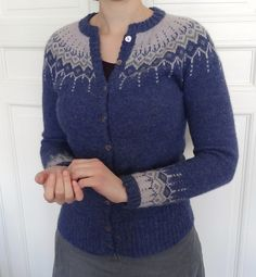 Ravelry is a community site, an organizational tool, and a yarn & pattern database for knitters and crocheters. Fair Isle Knitting Patterns, Knit Patterns, Cardigan Pattern, Knit Cardigan, Blue Cardigan, Icelandic Sweaters, Ravelry, Pulls, Knitting Projects