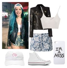 """""""Halsey Inspired Outfit"""" by hurricane-halsey ❤ liked on Polyvore featuring Thakoon, Balmain, Converse and LAUREN MOSHI"""