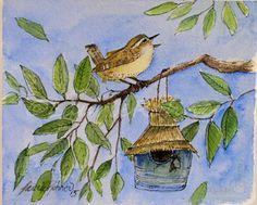 Oiseau Art aquarelle originale peinture Nature par BetweenTheWeeds