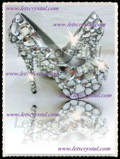 big clear crystal closed toe pump assorted crystal swarovski fancy stones crazy high heel shoes. $228.00, via Etsy.