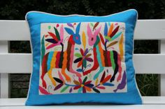 GlobeIn: Blue and multi colored Summer Silk and Otomi Pillow Sham with artisan woven textiles