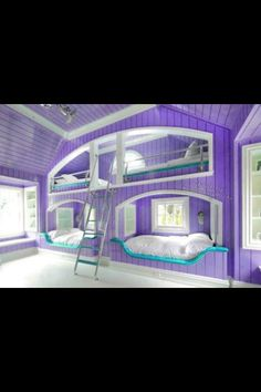 Purple amazing bedroom!! wpuld be great for a cottage up north.could be the kids room.