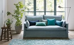 Alston Romo Fabrics, Natural Linen, Fabric Design, Upholstery, Weaving, Couch, Throw Pillows, Bed, Interior