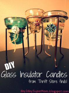 Learn how to easily make a designer Glass Insulator Candle for less ~ DIY! With just a few thrift store finds this project can be put together in just minutes. Insulator Lights, Glass Insulators, Candles For Less, Diy Candles, Antique Glass, Diy Hacks, Candle Making, Insulation, Making Ideas