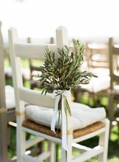 If you're having an Italian wedding theme, may love the idea of using olive wedding confetti and olive leaves throughout your wedding day. Olive Green Weddings, Olive Wedding, Olive Branch Wedding, Branches Wedding, Wedding Greenery, Wedding Arches, Wedding Backdrops, Wedding Ceremony Chairs, Wedding Chair Decorations