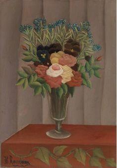 Bouquet of Flowers: 1909-1910 by Henri Rousseau (The Barnes Foundation, Philadelphia, PA) - Post Impressionism -  Naive/Primitive