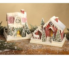Traditional Paper House Large – Set of 2 by Bethany Lowe Christmas Village Houses, Christmas Town, Putz Houses, Christmas Makes, Christmas Villages, Beautiful Christmas, Christmas Crafts, Christmas Decorations, Holiday Decor